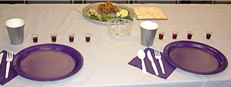 Seder place setting for two people