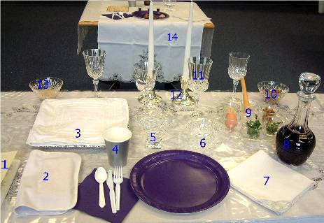 Seder leader's place setting